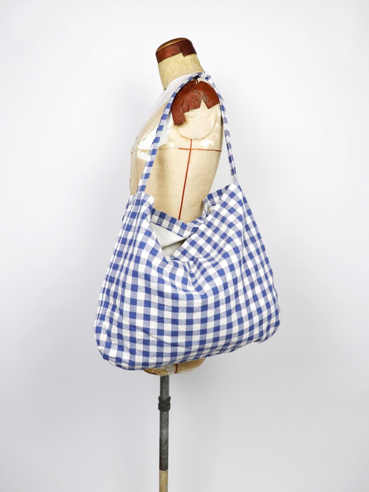 Cotton check fabric, Brown remake, Bag, USA