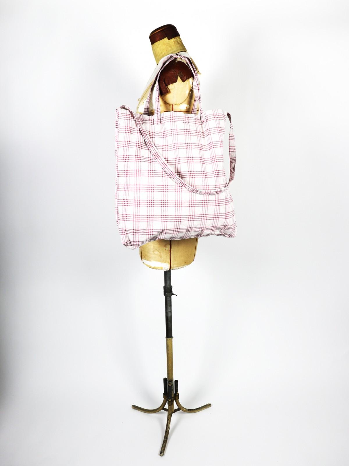 German fabric ,Cotton check,Bag,Brown.remake,