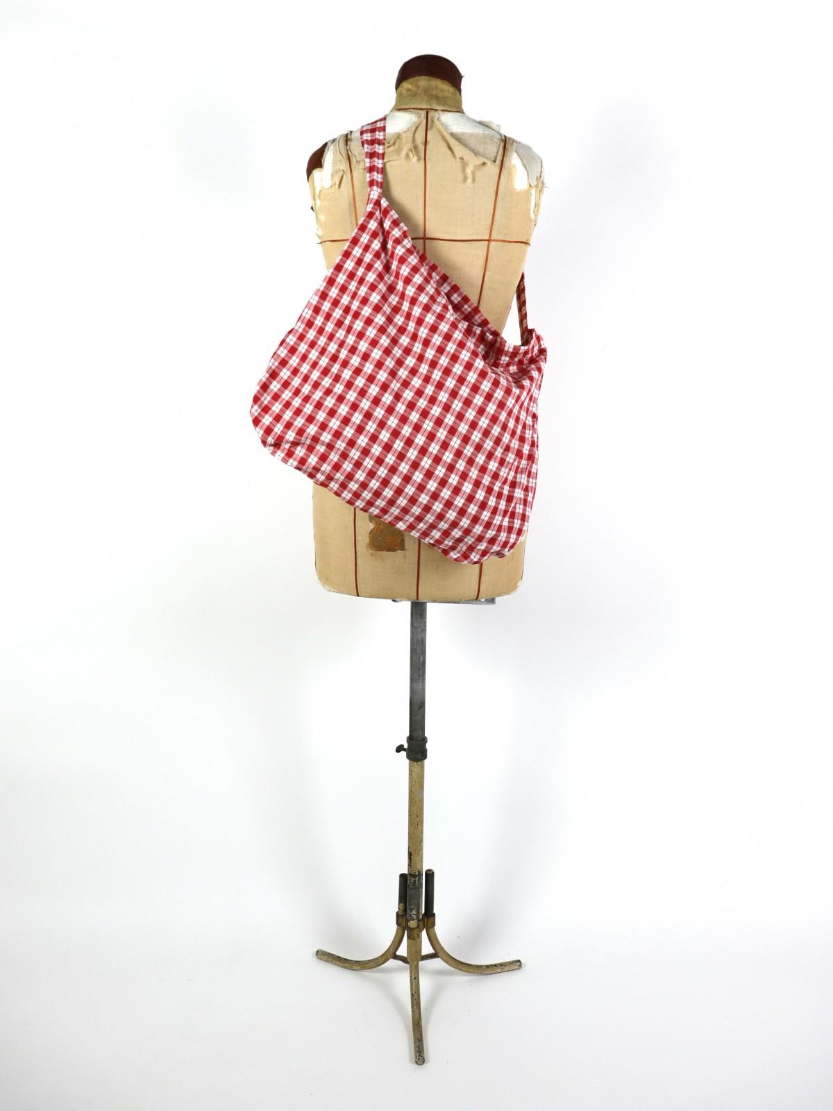 german cotton check fabric, brown.remake, bag