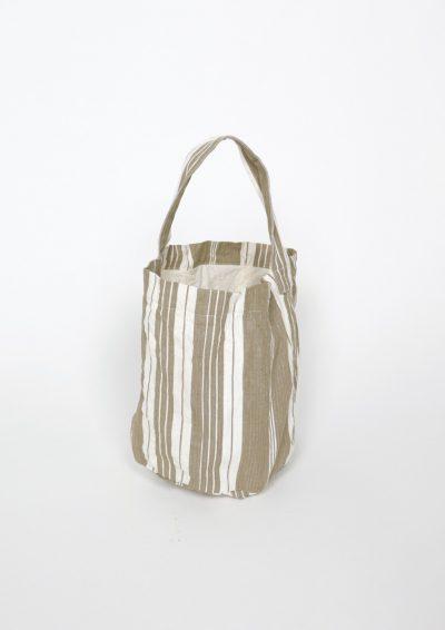 vintage lnen, french ticking fabric, brown.remake bag