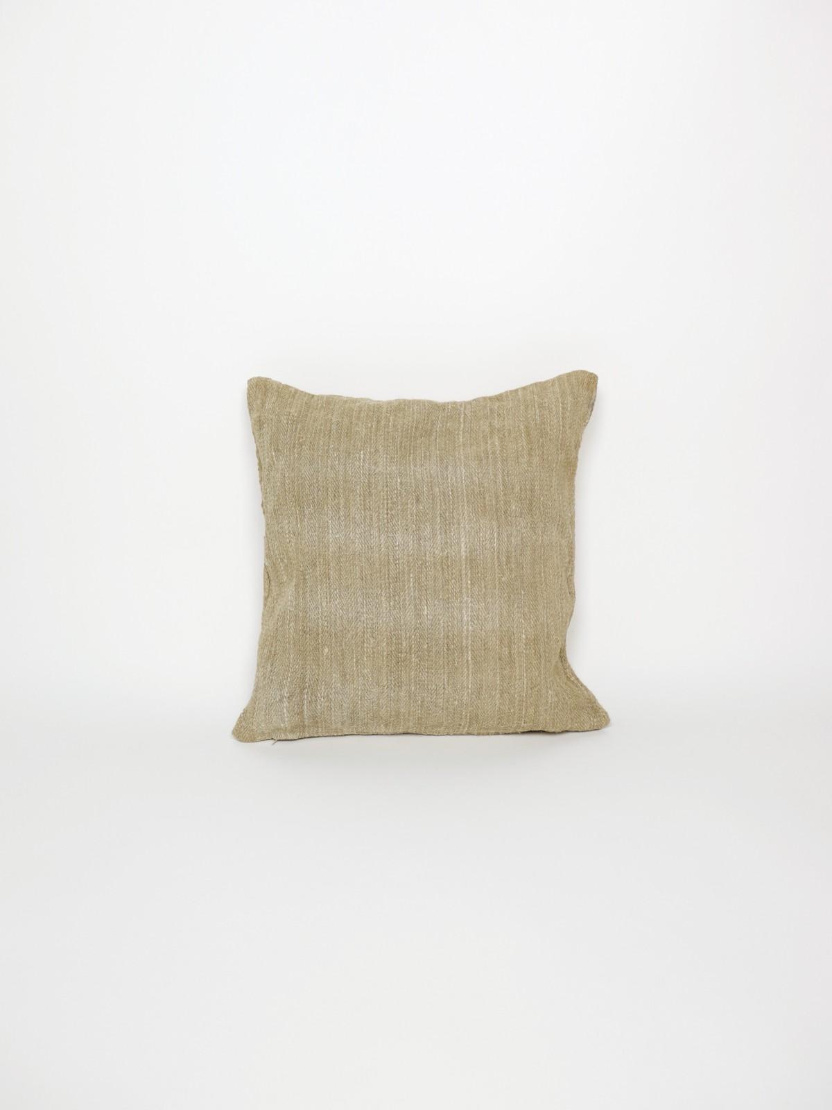 1950's grain sack cushion, vintage hemp fabric cushion, brown.remake