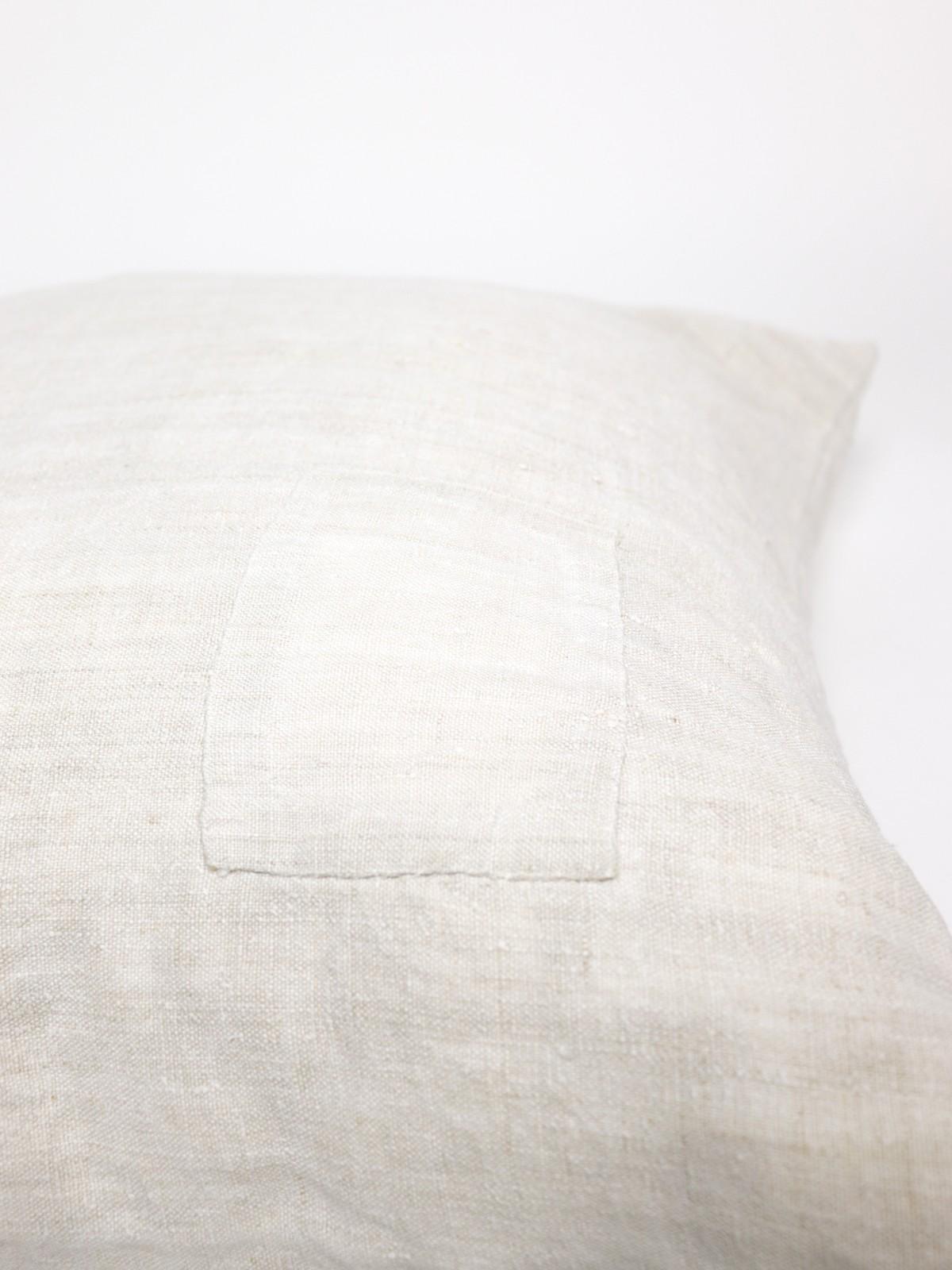 vintage white linen fabric cushion, brown.remake cushion, sheet fabric
