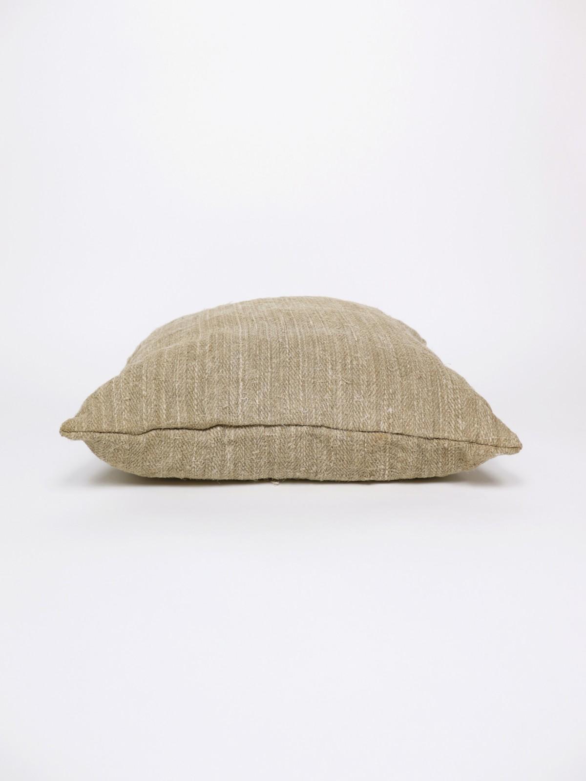 1950's grain sack fabric cushion, vintage hemp fabric cushion, brown.remake cushion