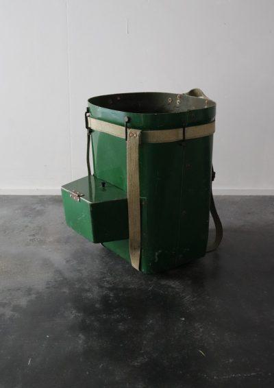 ,metal back pack,vintage back pack, usa