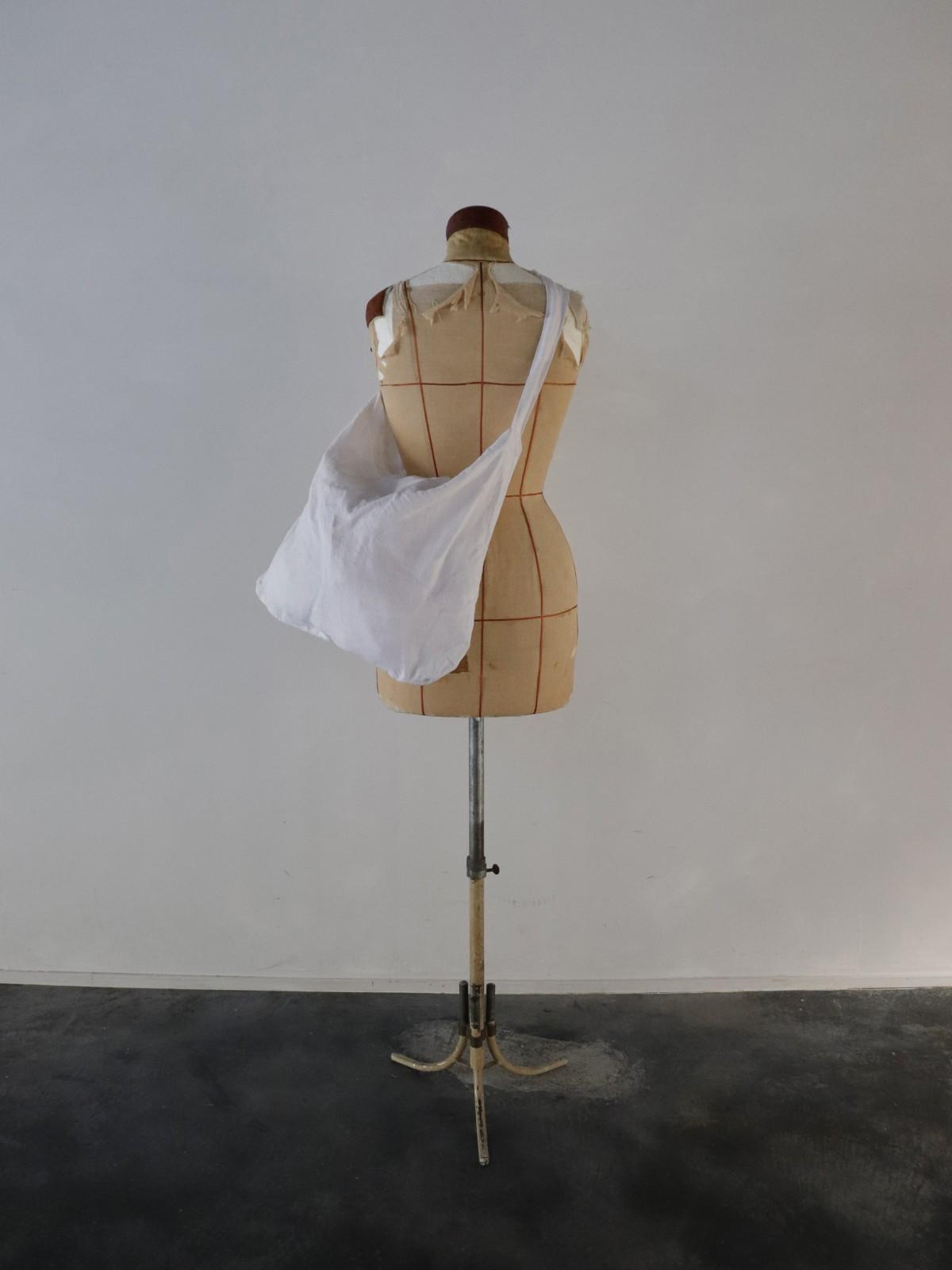vintage french linen fabric, bag, brown.remake