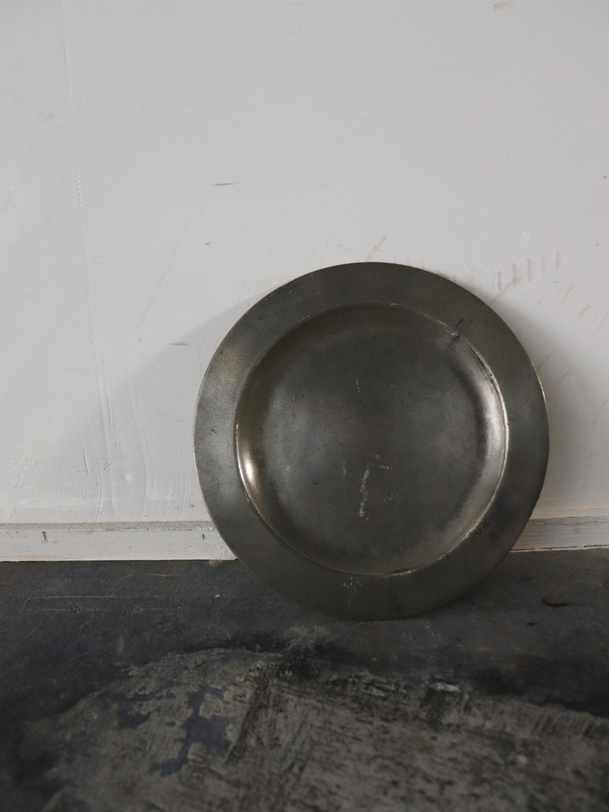 vintage pewter plate, france