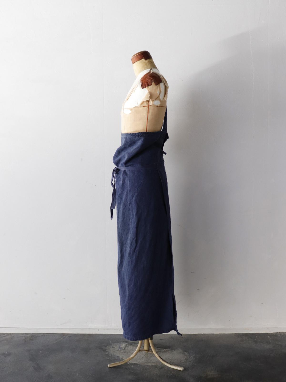 1960's, indigo linen, France,apron