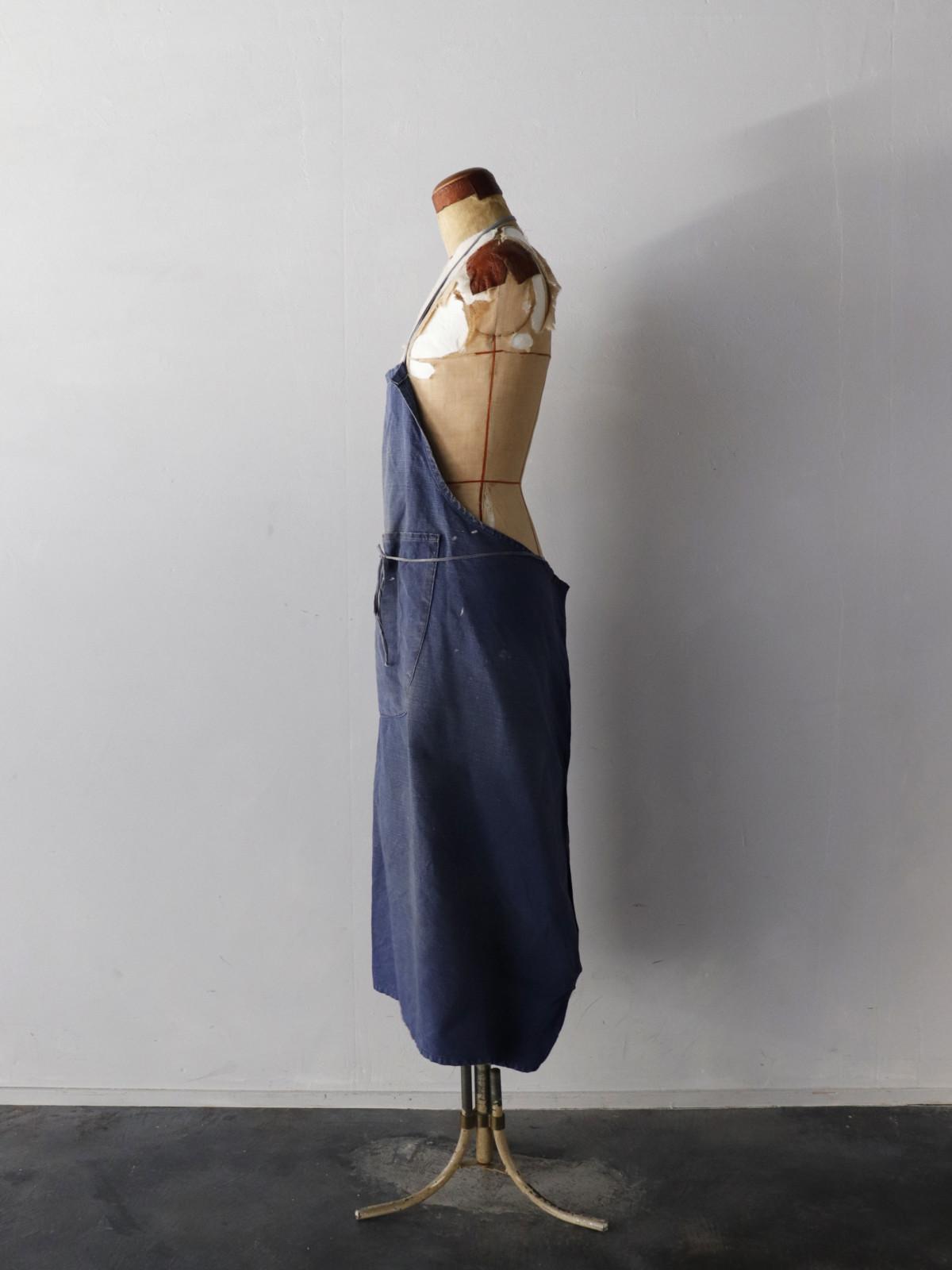 Vintage,indigo linen ,apron ,France,