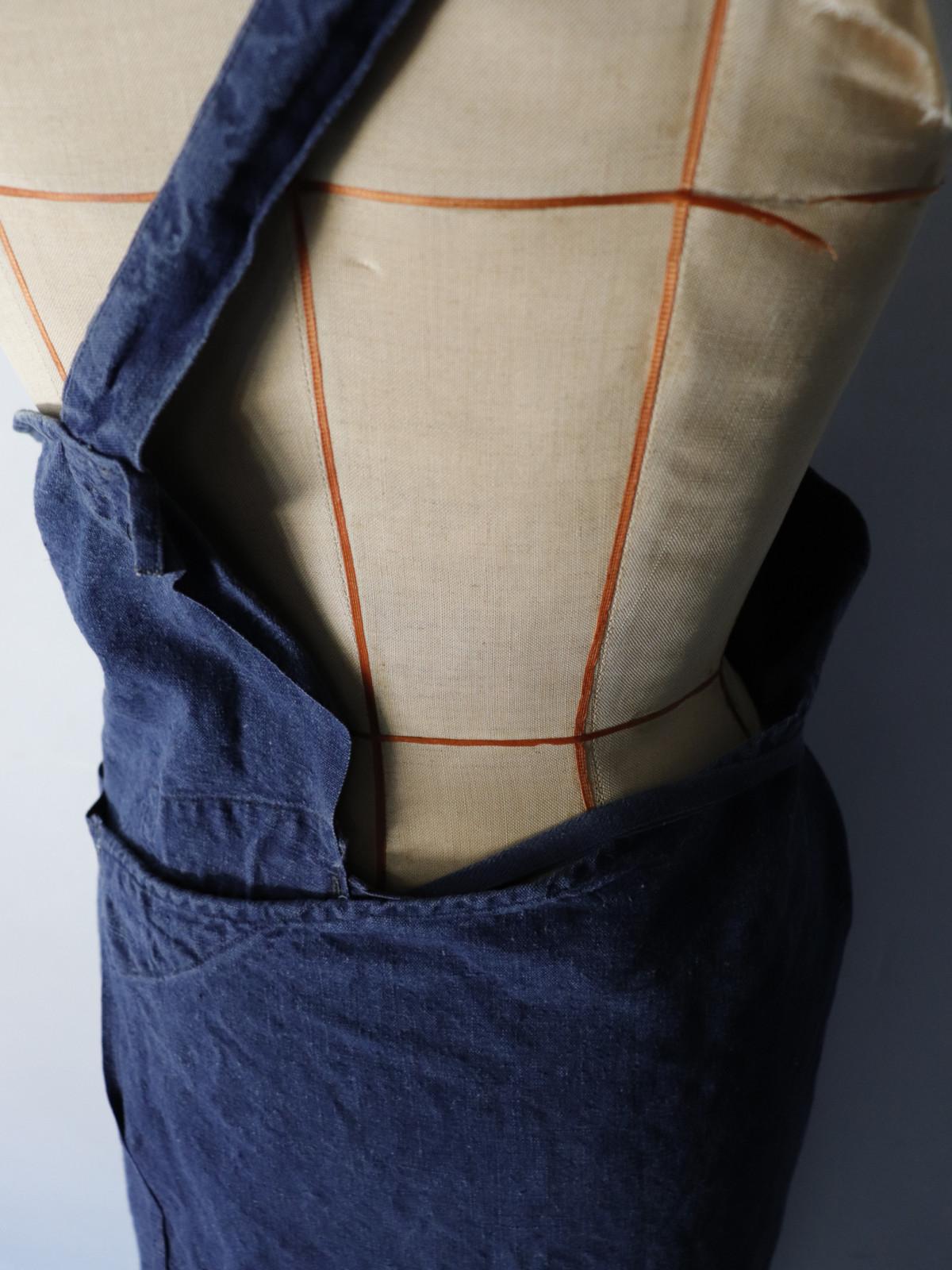 1960's,indigo linen,France,apron