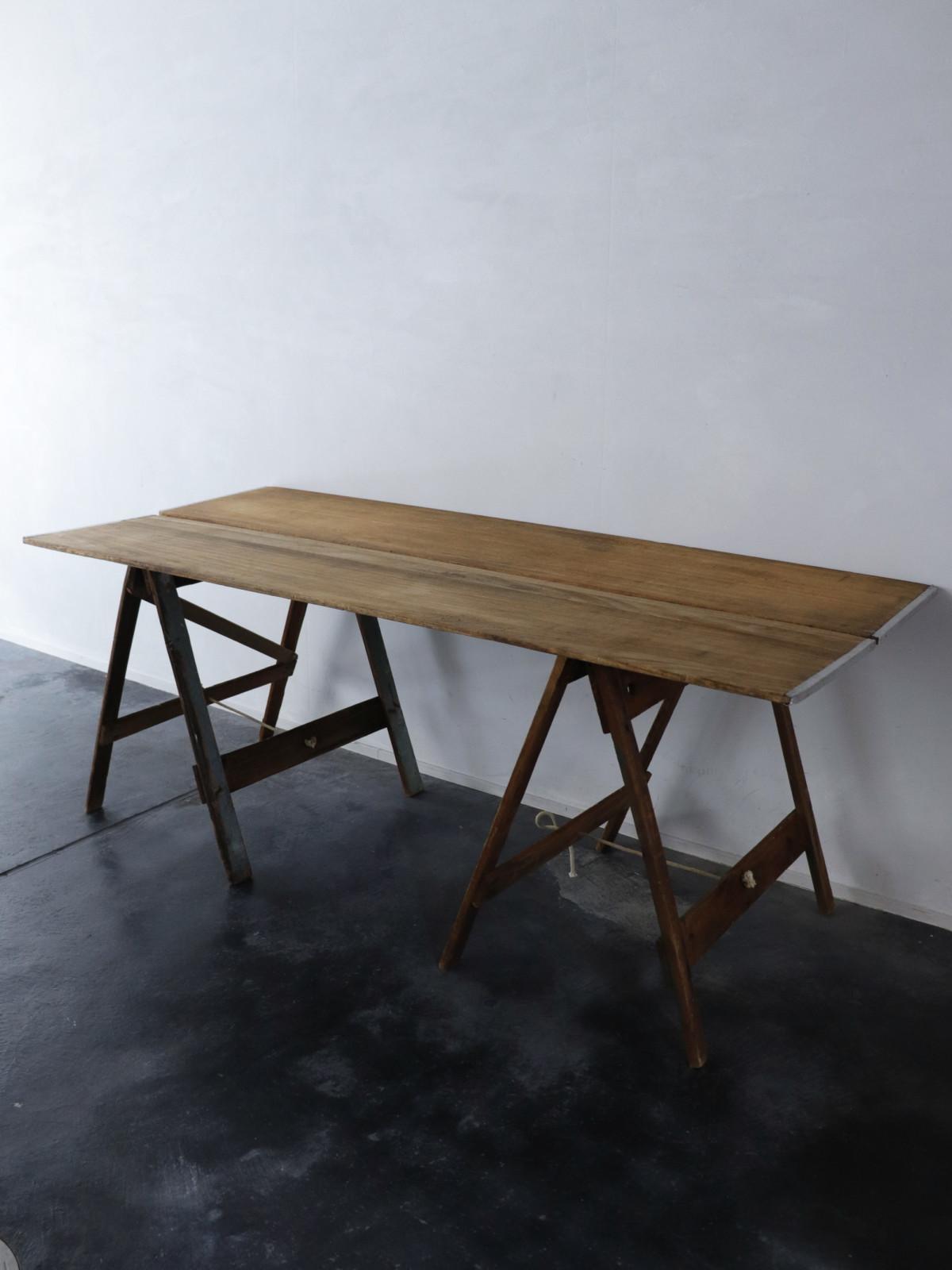 sawhorse,Vintage ,USA,folding,pine Wood plank