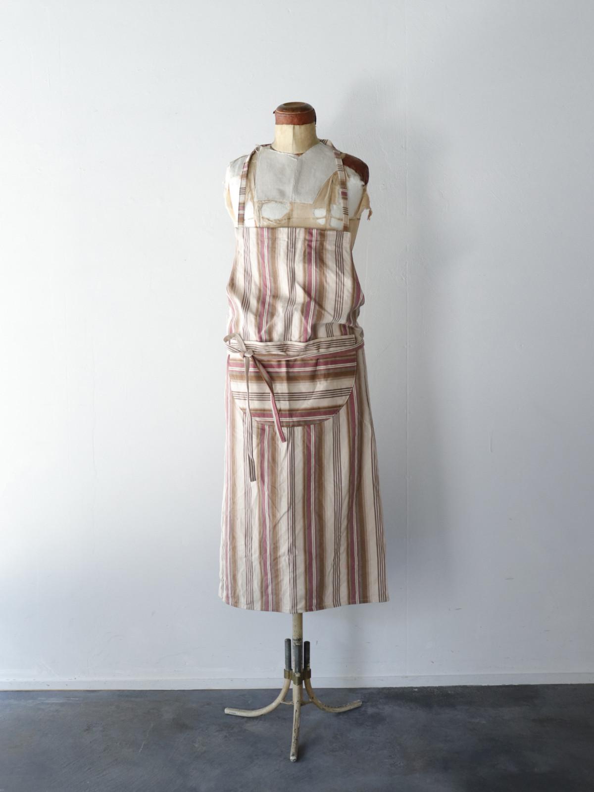 APRON,brown.remake,ticking,USA,Vintage,