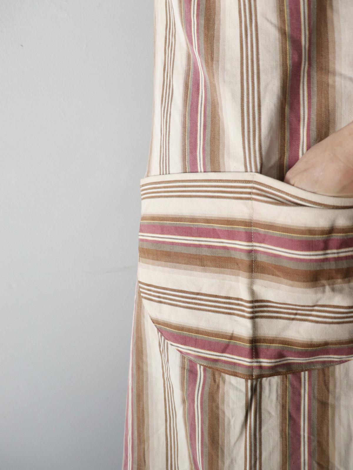 apron,brown.remake,ticking,USA,Vintage