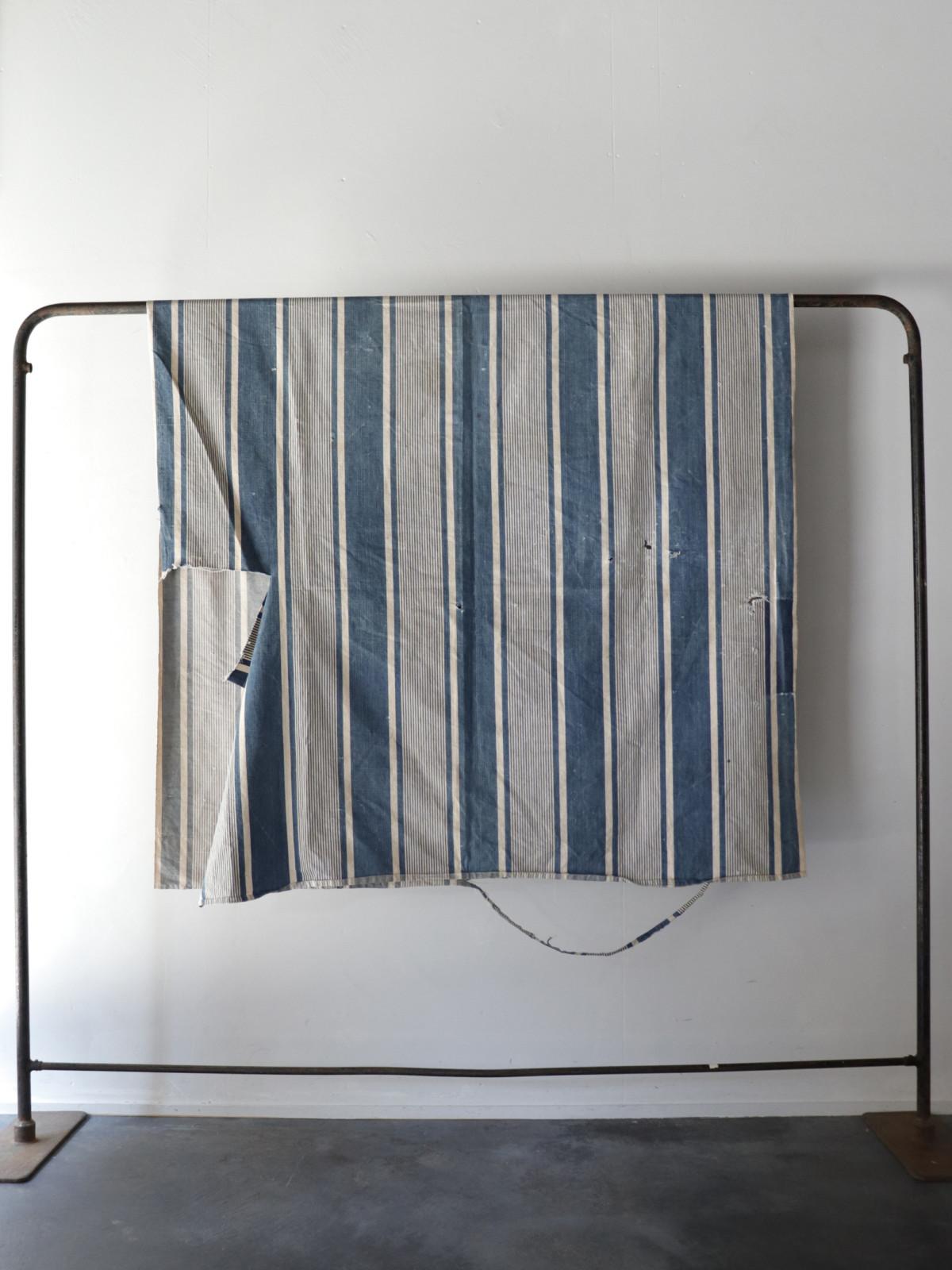 Indigo ticking cotton fabric,France,Vintage