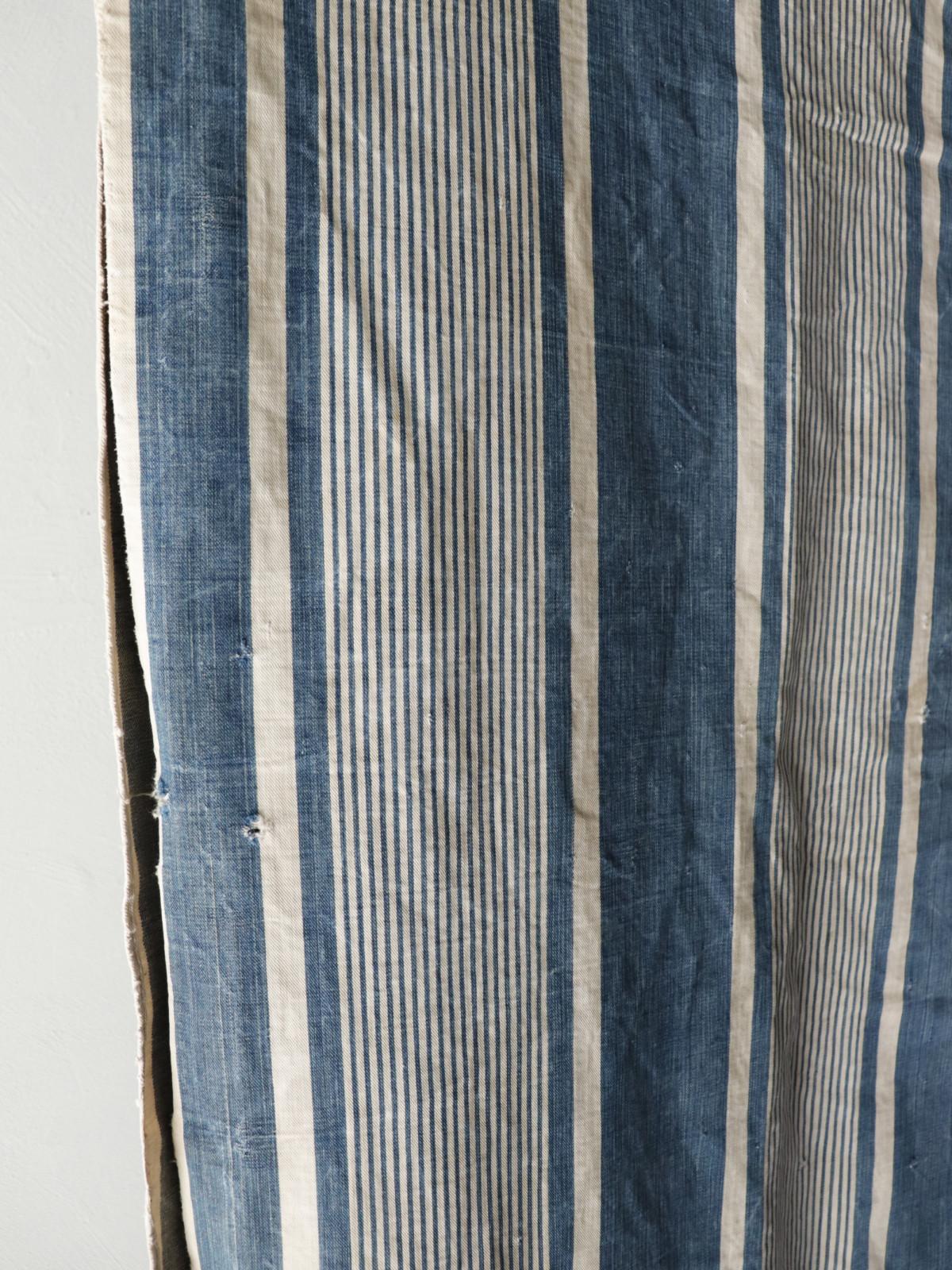 Indigo ticking cotton fabric,,France,Vintage