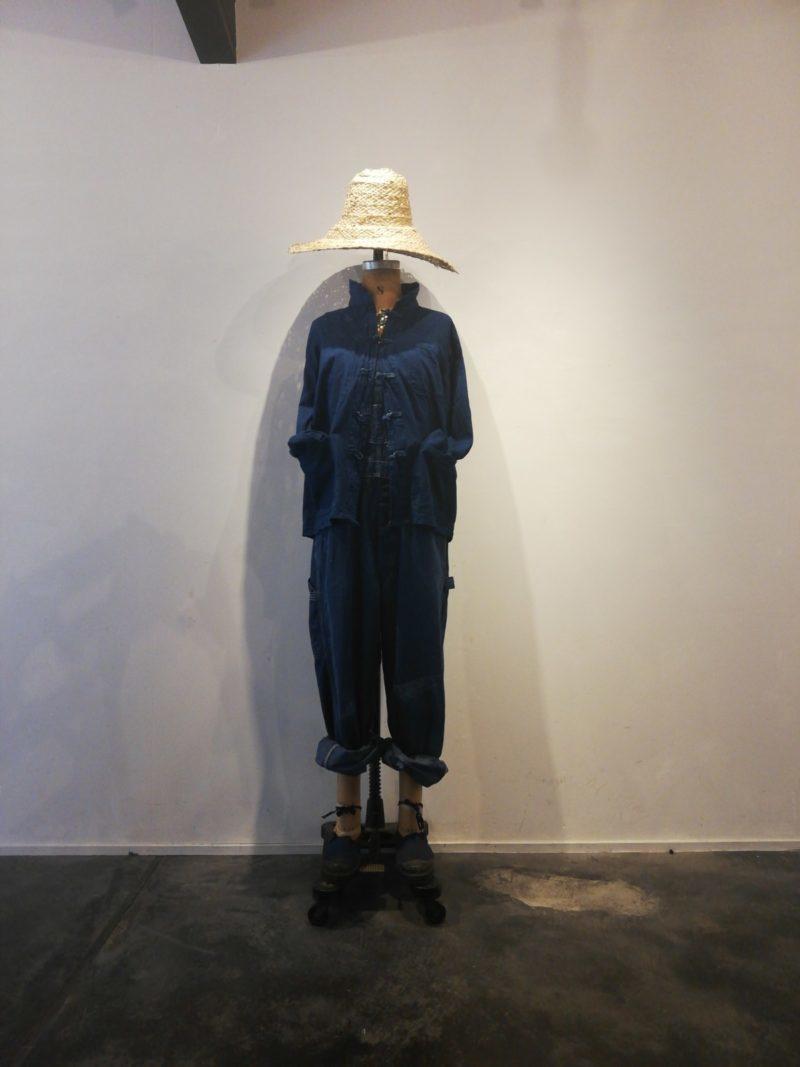 overalls,Dead Stock indigo jacket, espadrilles, Straw hat,