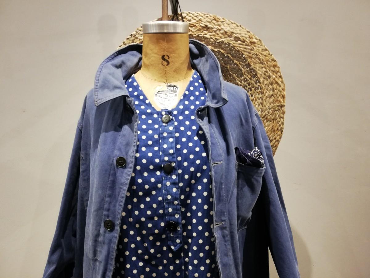 French work jacket, indigo dot print gilet, straw hat