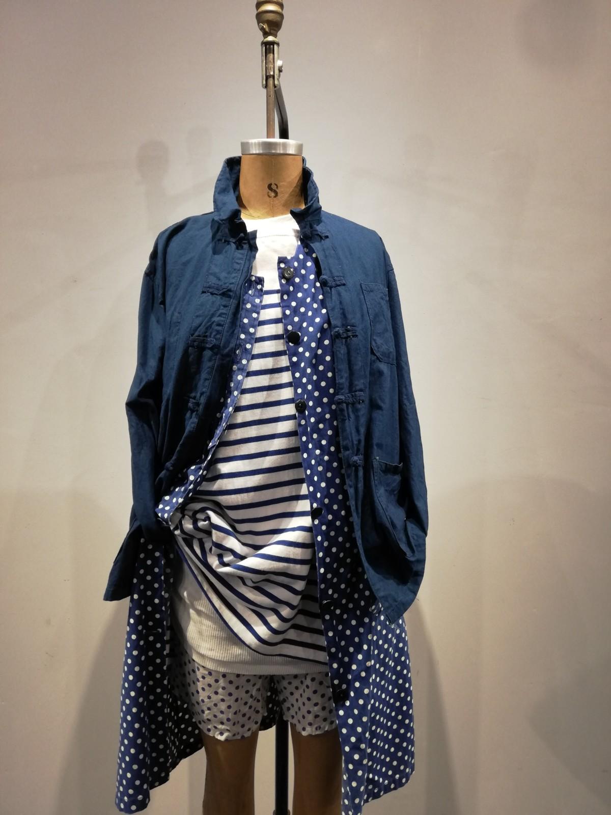 Dead Stock cotton China jacket, indigo dot print gilet