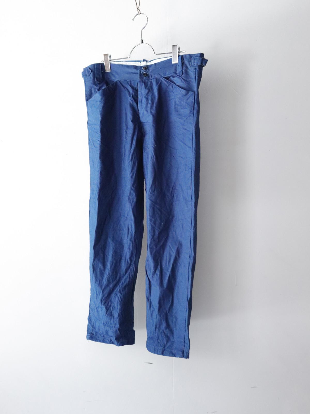 indigo cotton, work pants, France,