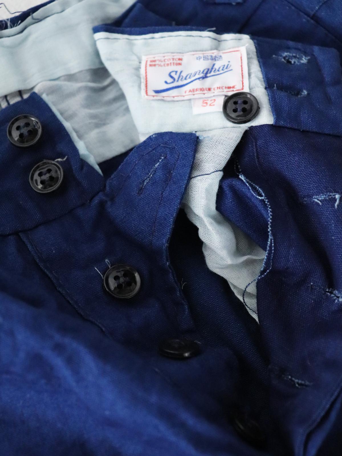 indigo cotton, France, work pants,