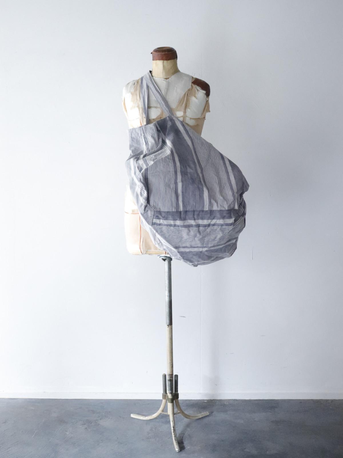 Vintage french ticking cotton fabric, Bigbag,BROWN. remake