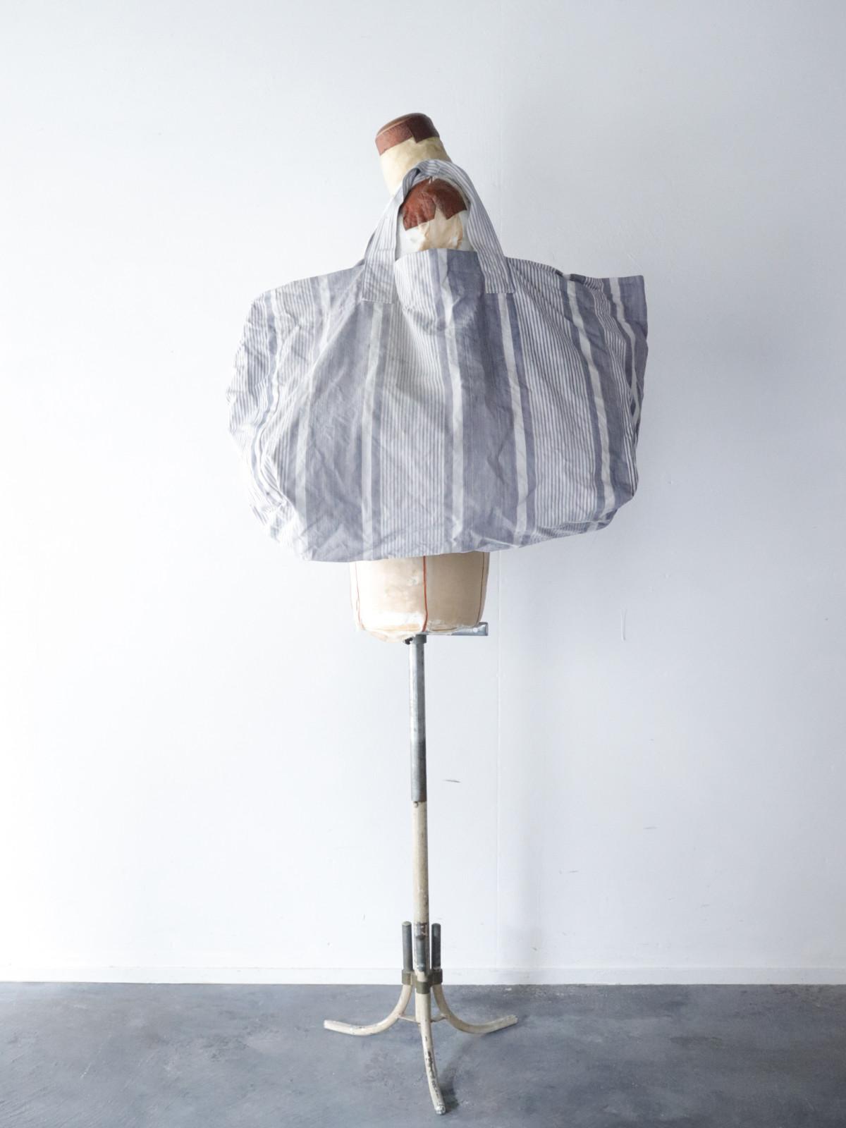 Vintage french ticking cotton fabric, bag, BROWN.remake