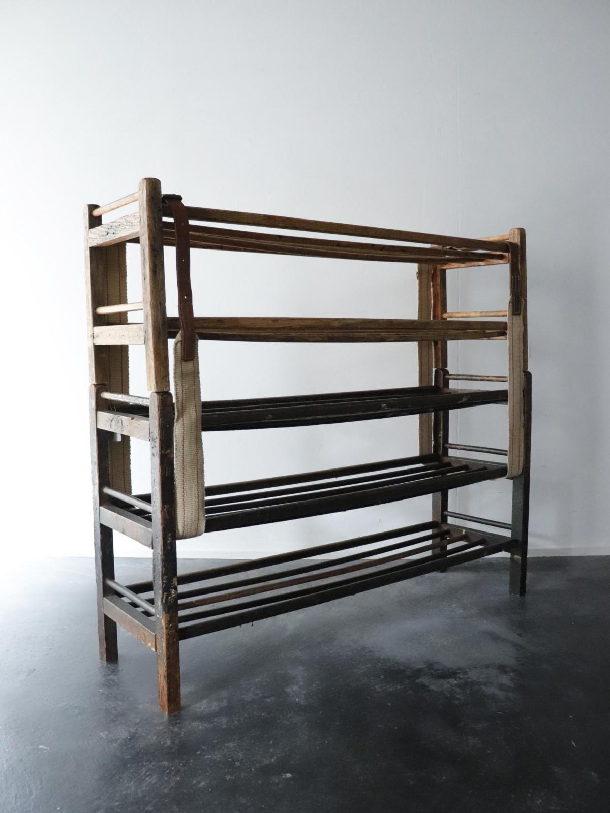 wood shoes rack, USA,vintage