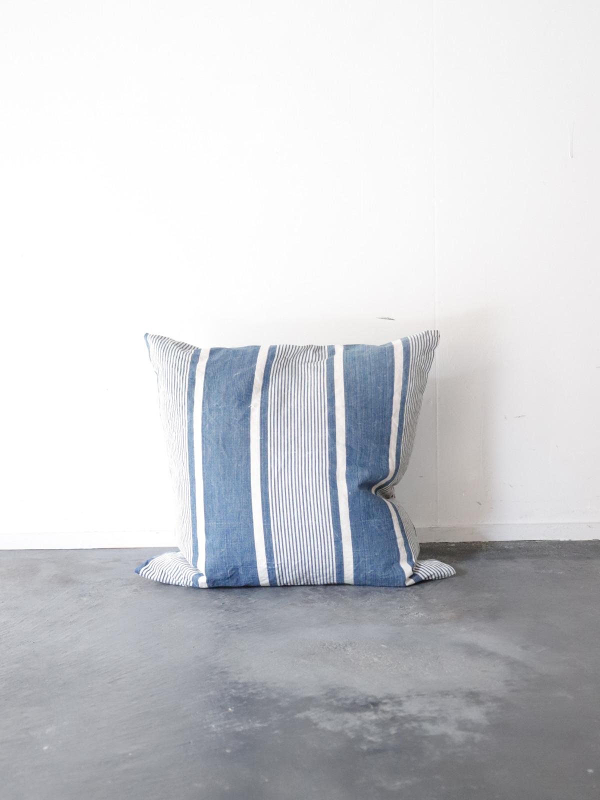 Ticking fabric, indigo, antique, france,cushion, brown remake