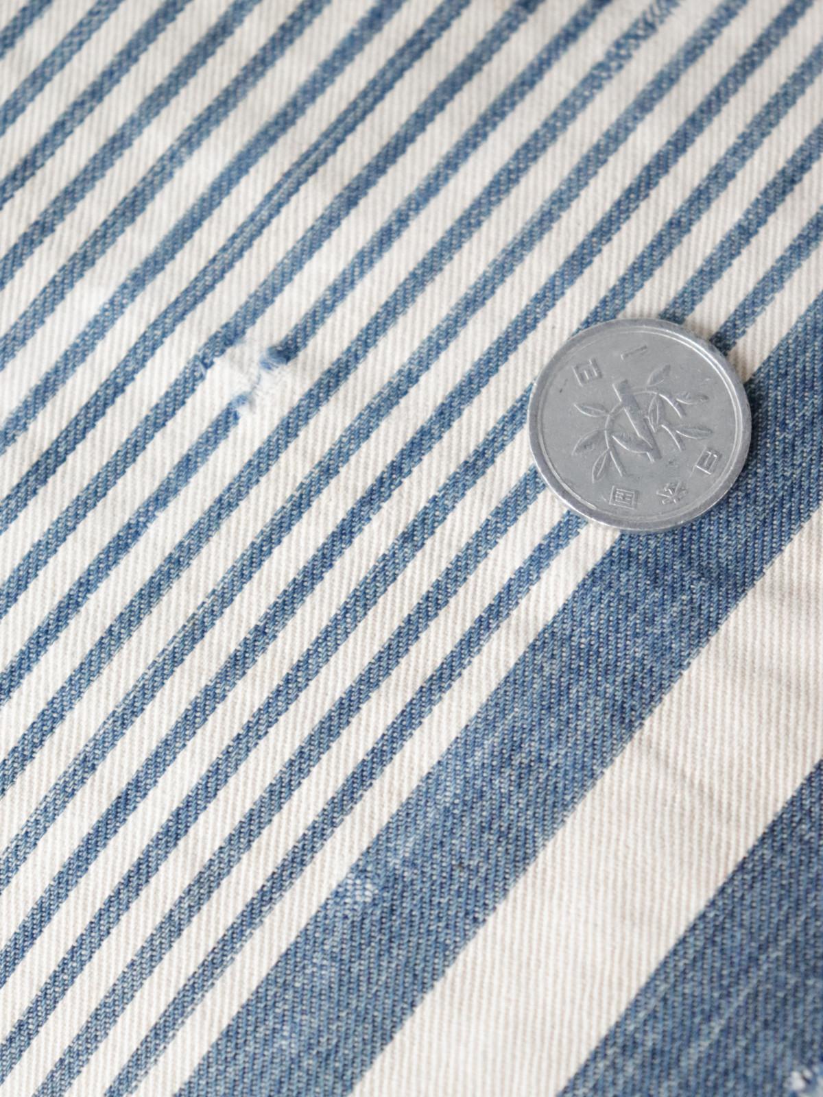 Ticking fabric, indigo, antique, cushion, brown remake