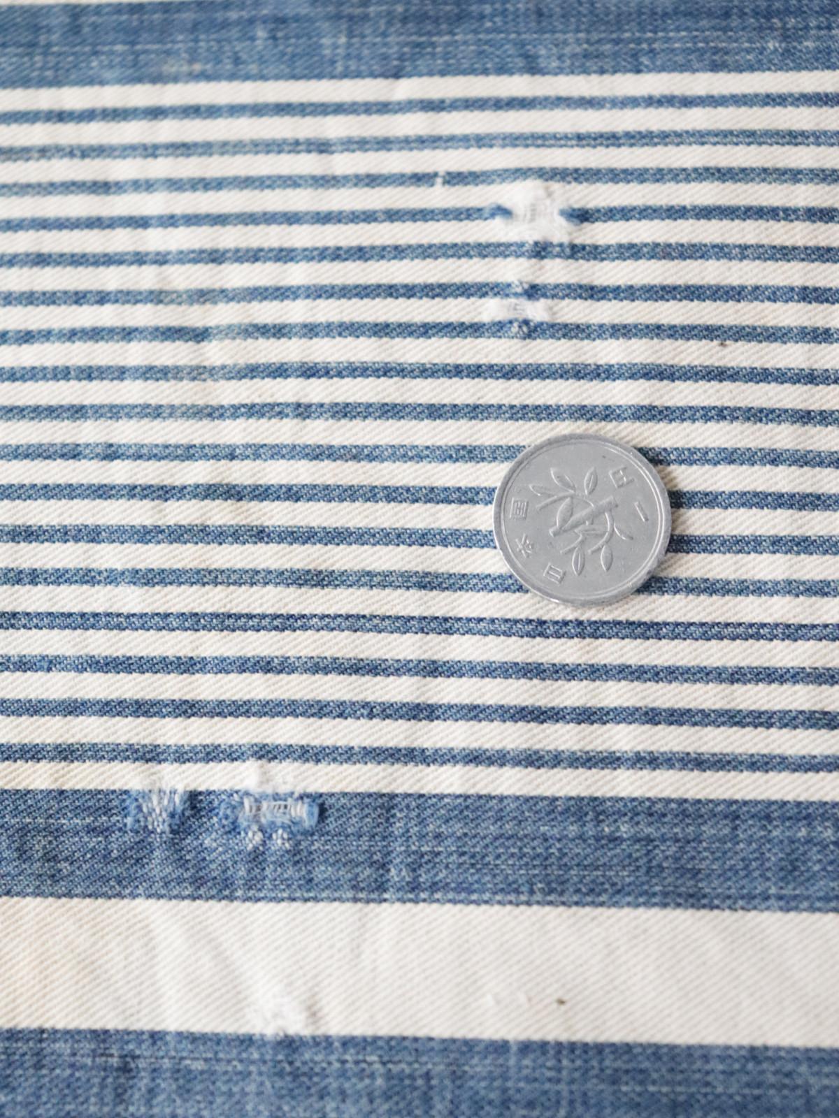 Ticking fabric ,indigo, antique, cushion, brown remake