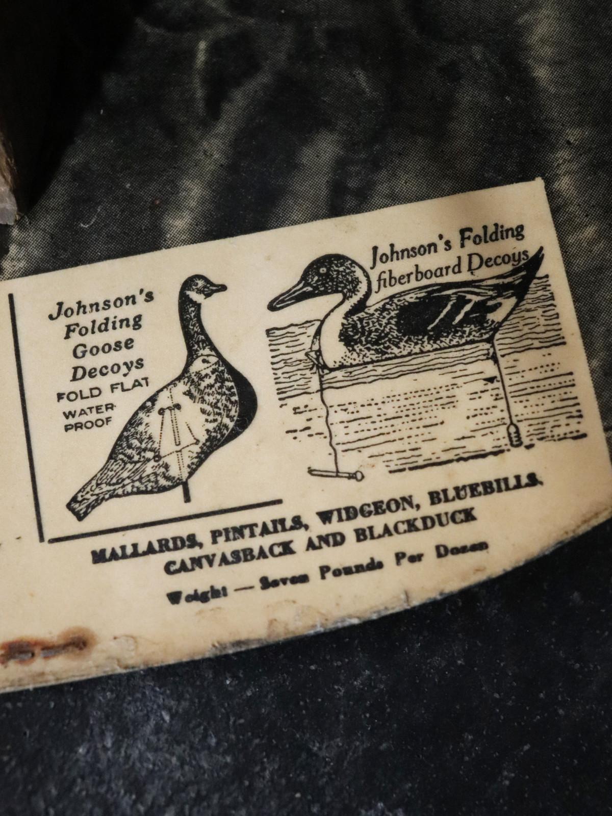 Jonson's,folding goose decoy,usa,vintage