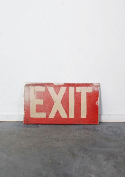 exit sign,wood,vintage,usa