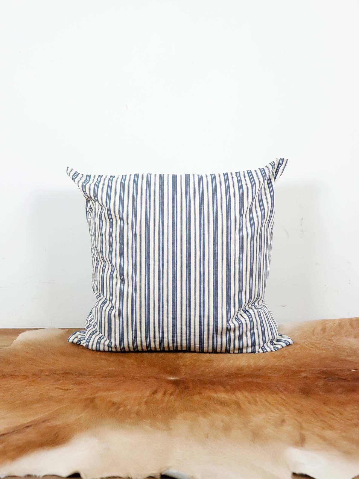 BROWN.remake,cushion,vintage,ticking,cotton,USA